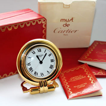 Vintage Must De Cartier Golden Office Desk Table Travel Alarm Clock