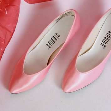 Pink Satin Party Heels / Size 7.5 M