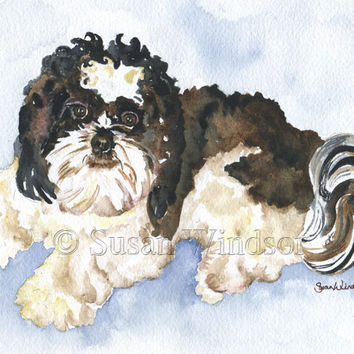 Shih Tzu Watercolor Note Card Set
