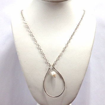"""Single Pearl Necklace - Sterling Silver Minalmist Necklace - Twenty six""""  Sterling Cable Chain- Cultured Pearl Necklace- White Pearl Jewelry"""