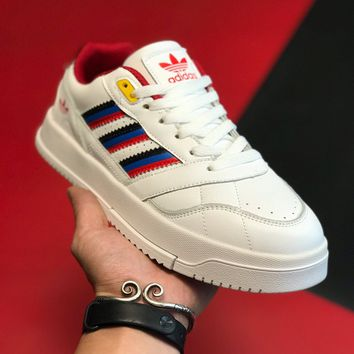 """Adidas Trainer"" Unisex Retro Casual Multicolor Stripe Leather Plate Shoes Couple All-match Sneakers"