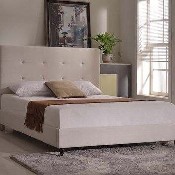 "New Century® Ivory Linen 47"" Inches Headboard Platform Bed With Slats"