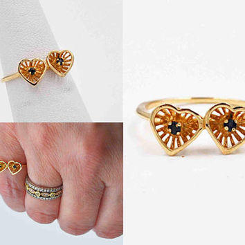 Vintage 14K Yellow Gold Filigree Heart Ring, Two Heart Ring, Blue Topaz,  3D, Size 5 1/2, Sweetheart Ring, 1.7 Grams, Lovely!  #c283