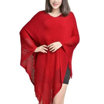 Autumn Winter Women Sweater Female Batwing Casual Fringed Pullovers Women Tops Poncho Shawl Cape Pull Femme Sweter Clothes