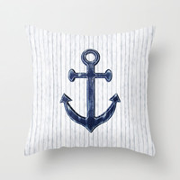 Anchor Pillow Cover, Nautical Throw Pillow, White Pillow Cover, Navy Home Decor, Nautical Home Decor, Rustic Home Decor, Navy Anchor