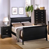 Coaster Queen Size Sleigh Bed Louis Philippe Style in Black Finish