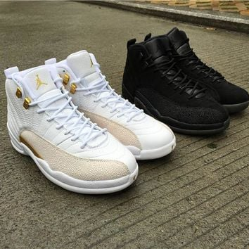 Air Jordan 12s OVO White Gold OVO Black Athletics Sports Sneakers With Shoes Box