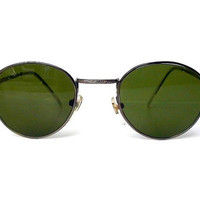 LAST PAIR 80s Round Sunglasses, John Lennon Glasses, Green Lenses Silver Frames, Sunglasses for Men Women
