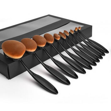 Professional Foundation Powder Brush Kit 10pc/set Makeup Brush