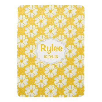 Yellow Flowers on Glitter Yellow Background Stroller Blankets