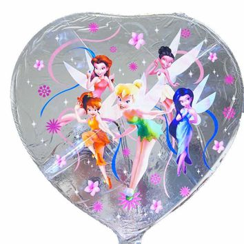 18inch princess balloons silver color tinker bell foil balloons for princess happy birthday balloons party decoration