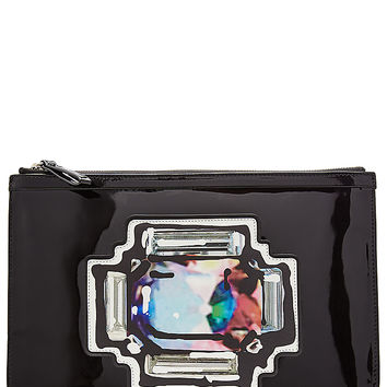 Pierre Hardy - Patent Leather Clutch with Printed Patch