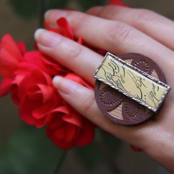 Persian Calligraphy Ring on Brass and wood