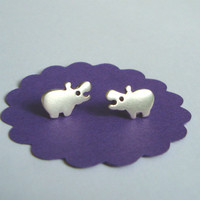 Sterling Silver Hippo Stud Earrings Kids Teens Stocking Stuffer BF Christmas Rhino Safari
