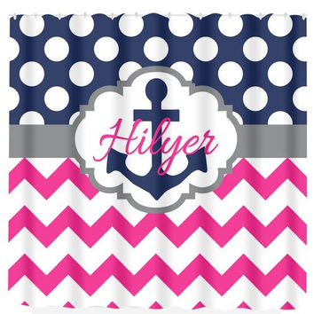 Anchor SHOWER CURTAIN Nautical Navy Hot Pink Chevron Polka Dot MONOGRAM Personalized Bathroom Decor Bath Beach Towel Plush Bath Mat Made Usa