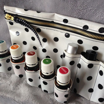 Essential Oils Travel Bag - Cosmetics Bag - black polka dots on white - silver or gold zipper