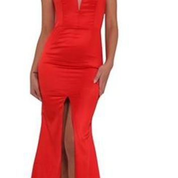 Girl On Fire Red Sleeveless Spaghetti Strap Halter Plunge V Neck Front Slit Mermaid Maxi Dress Gown