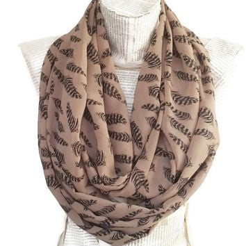 Fall Trends Color, Camel Brown Cute Fashion İnfinity Scarf, Girly, Chiffon, with Leaf and Feathers Print, Tube Scarf, Women Accessories
