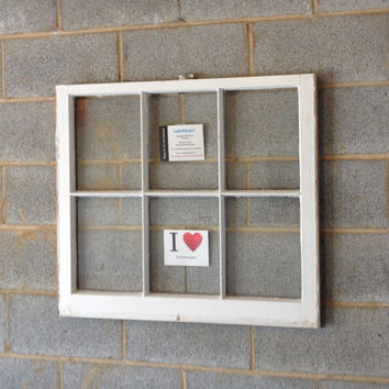 Vintage 6 Pane Window Frame - White, 32 x 28,  Rustic, Wedding, Beach Decor, Photos, Pictures