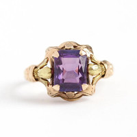 Created Purple Sapphire Ring - Vintage 10k Rose & Yellow Gold Art Deco 2.09 CT Color Change Gem - 1940s Size 6 3/4 Flower Fine Jewelry