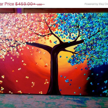 On Sale Four Seasons Painting / Acrylic Abstract Tree Art ---Pick Your Size