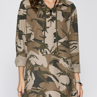 Lace-Up Camouflage Dress
