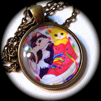 LISA FRANK KITTENS . Glass Pendant Necklace . High Tops . Vintage . Classic . GirlGameGeek