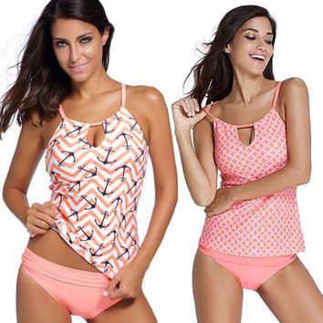 Women's Pink Anchor Print Swimsuit Push Up Tankini Two Piece swimwear Bikini Set