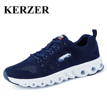 KERZER Running Shoes Men Walking Trainers Plus Size Mens Athletic Jogging Sneakers Black Blue Mens Runners 2017 Breathable Shoes