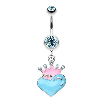 Vibrant Crowned Heart Sparkle Belly Button Ring
