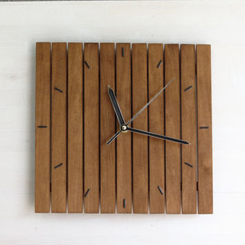 Praf III, wall clock 24x24cm minimal style simple square walnut silent wooden wall hanging clocks wood walnut old silent movement, Paladim