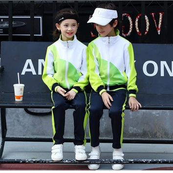 Children Sports Sets , kids school uniform , boy girl Trainning & Exercise sport Clothes suits , Long Sleeve Shirt + Long pant