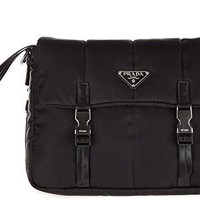 Prada Women's Leather and Shoulder Bag With Buckles Black