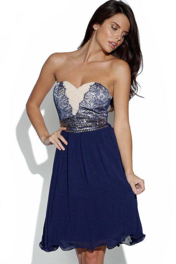 Navy Lace and Chiffon Strapless Dress with Jewel Embellishme