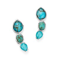 IPPOLITASterling Silver Rock Candy Triple Turqouise Doublet Ear Climbers