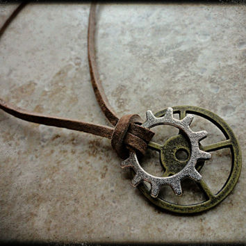 Mens Gears Necklace Explorer Biker Mechanic Necklace Gears and Suede Leather Brass Silver