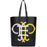 Black & Multicolor Leather Logo Tote