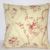 """Retro Floral Pillow, American Folk Amadeus, 17"""" Sq Cotton, Vintage Look, Pink Roses, Music, Zipper Cover Only or Insert Included"""