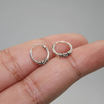 10mm Silver Bali Hoop Earrings, Oxidized Hoop Earrings, Balinese Hoop Earrings, Tiny hoop earrings, bali hoop earrings, helix tragus hoops