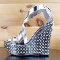 "Luichiny Cor Enna Silver White Wedge Sandal Shoe - 5"" Heels"