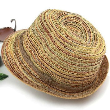 Summer Sunhat Beach Headgear Gangster Hats Wide Brim Jazz Fedora Hat