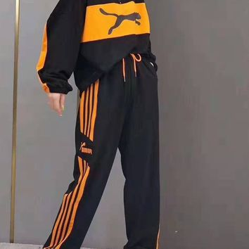 """""""PUMA""""Woman's Leisure Fashion Letter Print Hooded Long Sleeve Loose Spell Color Zipper Hooded Coat Top Trousers Two-Piece Set Casual Wear"""