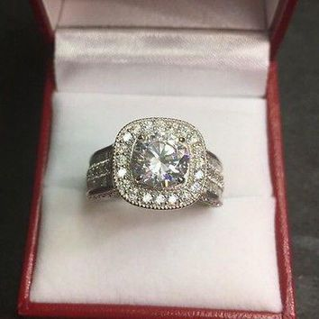 New 14k Gold On Silver Big Zirconia Crystal  Engagement Wedding ring Band size10
