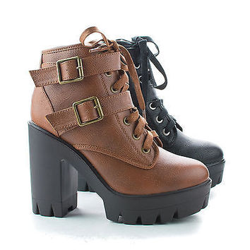 Jonas07 Military Combat Lace Up Lug Sole Chunky High Heel Ankle Boots