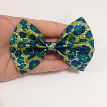 Green and Blue Glitter Leopard Print Canvas Hair Bow on Alligator Clip - 4 Inches Wide - Affordable and High Quality Hair Bows