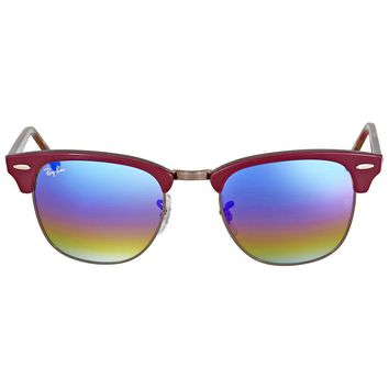 Ray Ban Clubmaster Blue Rainbow Flash Mens Sunglasses RB3016 1222C2 51