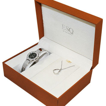 ESQ Movado Nola Crystal Bangle-Style Dress Watch and Heart Pendant Gift Set