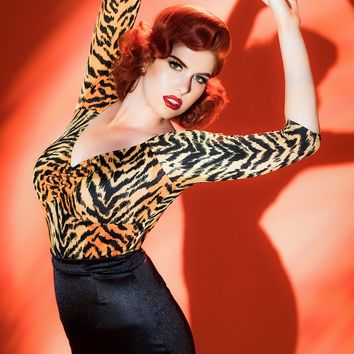 Deadly Dames Jailbird Top in Orange Tiger