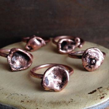 Copper Droplet Ring - Tiny Ring - Unique Ring - Raw Copper Ring - Stacking Ring - Delicate Ring