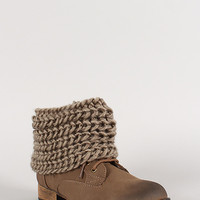 Wild Diva Lounge Chunky Knit Cuff Ankle Bootie